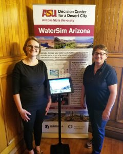 Emily and Liz with the WaterSim kiosk