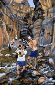 Jack and David Attempt to Capture the Beauty painting by Barbara Kemp Cowlin